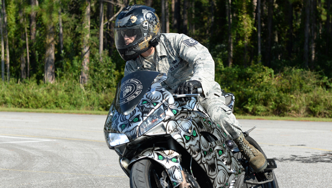 An Airman from the 44th Fighter Group keeps himself grounded with a passion for motorcycles.