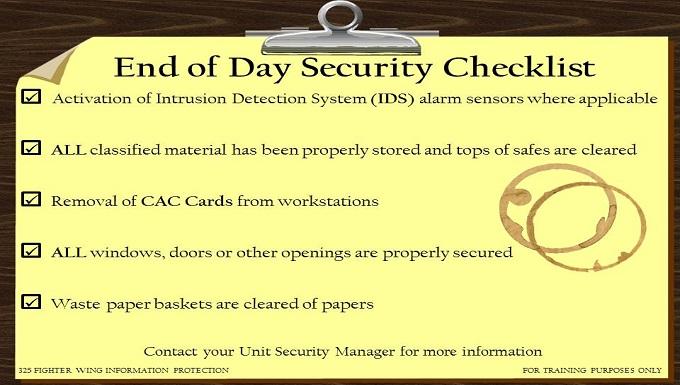 CCRI Security Checklist